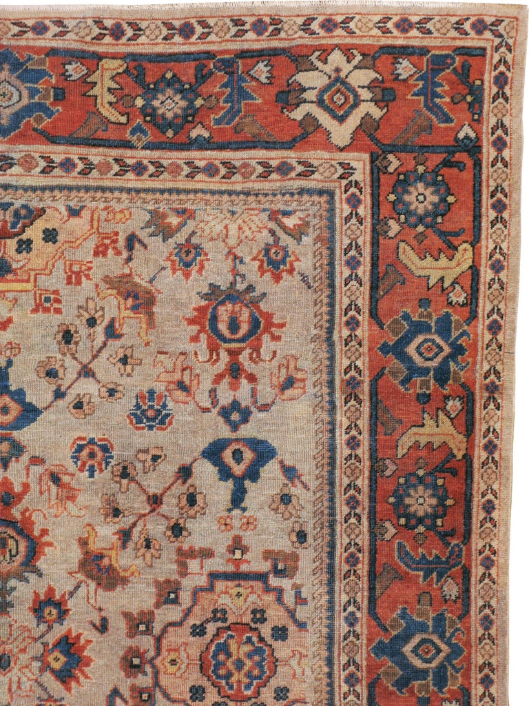 Hand-Knotted Antique Persian Mahal Carpet For Sale