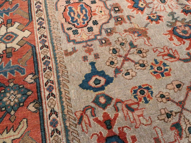 20th Century Antique Persian Mahal Carpet For Sale
