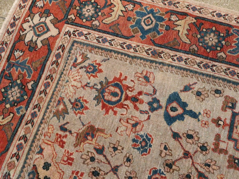 Wool Antique Persian Mahal Carpet For Sale