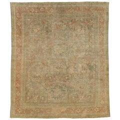 Distressed Antique Persian Mahal Carpet
