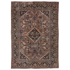 Antique Persian Mahal Carpet, Rust Field, Dark Navy & Black Borders, Shabby Chic