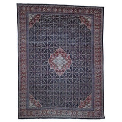 Antique Persian Mahal Even Wear Navy Blue Hand-Knotted Oriental Rug