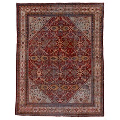 Antique Persian Mahal Rug, Light Gray Borders, Red and Gray Field, circa 1930s