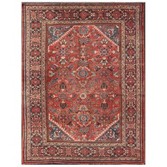Antique Persian Mahal Rug with All Over Design in Soft Red and Dark Border
