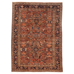 Antique Persian Mahal Rug with Blue & Green Floral Motif on Red Center Field