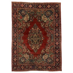 Antique Persian Mahal Rug with English Country Cottage Style
