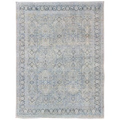 Antique Persian Mahal Rug with Sub Floral Design in Blue, Charcoal & Cream