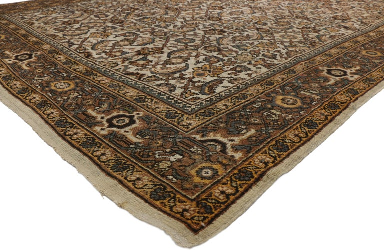 Antique Persian Mahal Rug with Herati Pattern and Rustic Arts & Crafts Style For Sale 3
