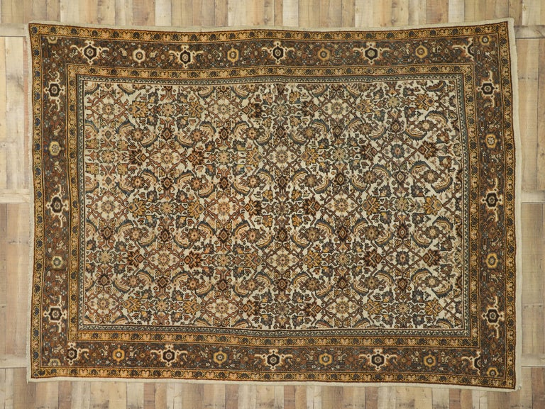 Antique Persian Mahal Rug with Herati Pattern and Rustic Arts & Crafts Style For Sale 4