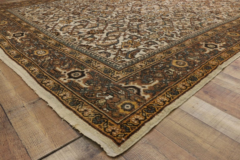 Antique Persian Mahal Rug with Herati Pattern and Rustic Arts & Crafts Style For Sale 5