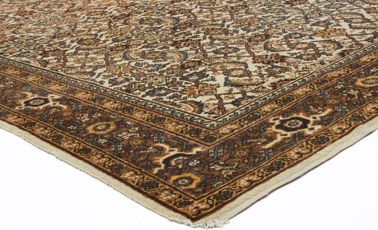 Antique Persian Mahal Rug with Herati Pattern and Rustic Arts & Crafts Style For Sale 7