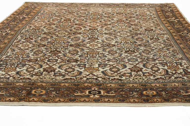 Antique Persian Mahal Rug with Herati Pattern and Rustic Arts & Crafts Style For Sale 8