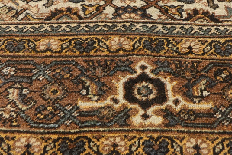 20th Century Antique Persian Mahal Rug with Herati Pattern and Rustic Arts & Crafts Style For Sale