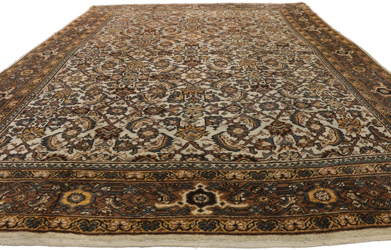 Wool Antique Persian Mahal Rug with Herati Pattern and Rustic Arts & Crafts Style For Sale