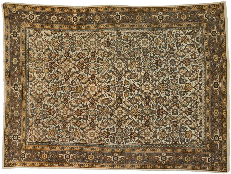 Antique Persian Mahal Rug with Herati Pattern and Rustic Arts & Crafts Style For Sale 1