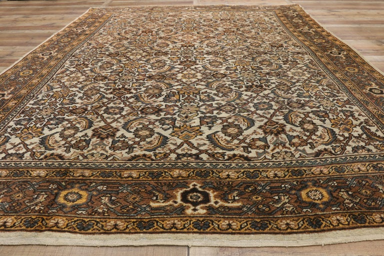 Antique Persian Mahal Rug with Herati Pattern and Rustic Arts & Crafts Style For Sale 2