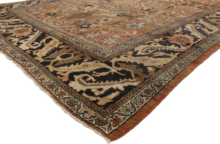 74014 antique Persian Mahal rug with Traditional style. This rich antique Persian Mahal Rug with Traditional style features a large diamond lattice pattern with medallions and blossoms at the interstices. The neutral colorway displays floral and