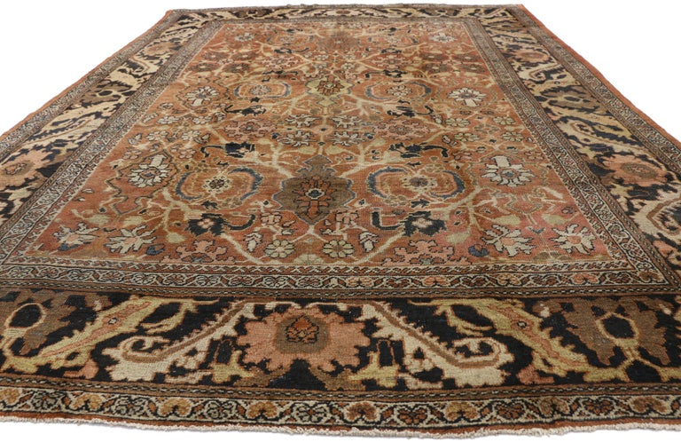 Rustic Antique Persian Mahal Rug with Traditional Style For Sale