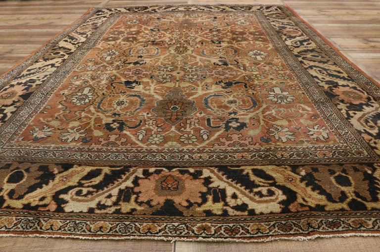 Wool Antique Persian Mahal Rug with Traditional Style For Sale