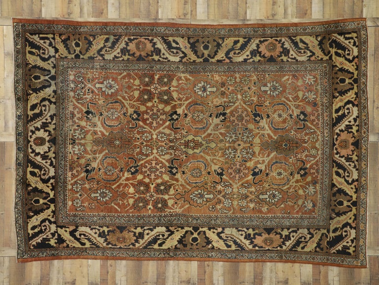 Antique Persian Mahal Rug with Traditional Style For Sale 1