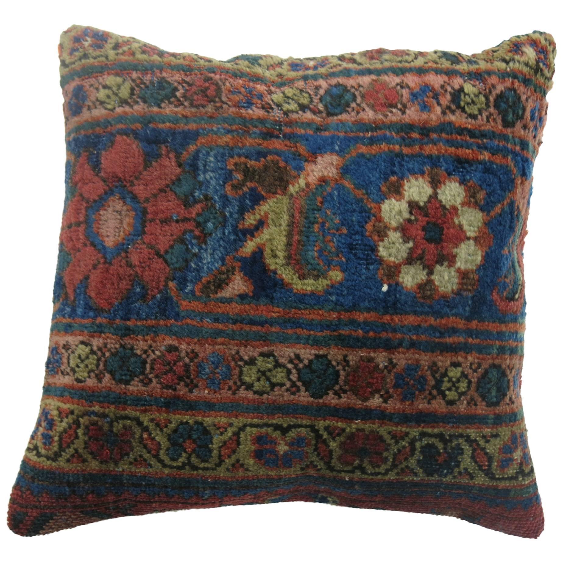 Antique Persian Mahal Distressed Border Rug Pillow