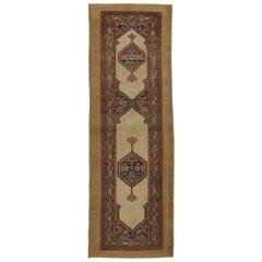 Antique Persian Malayer Camel Hair Runner, Hallway Runner