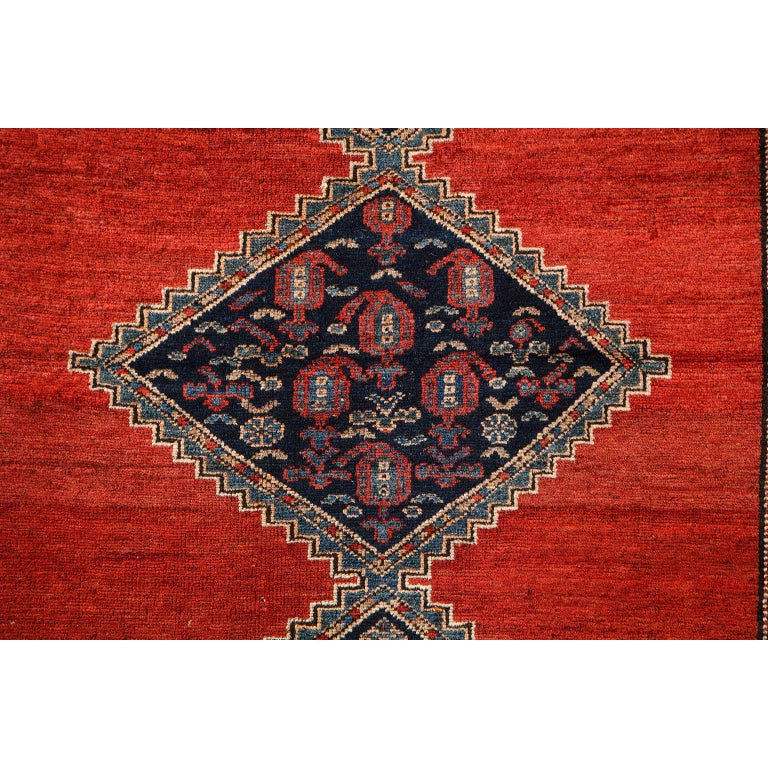 Vegetable Dyed Antique Persian Malayer Carpet in Pure Wool and Vegetable Dyes, circa 1900 For Sale