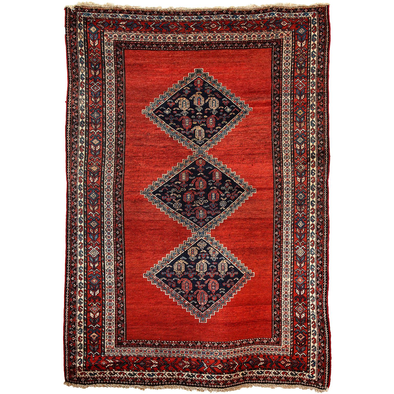 Antique Persian Malayer Carpet in Pure Wool and Vegetable Dyes, circa 1900