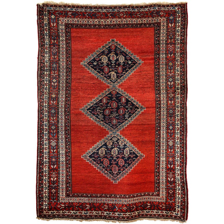 Antique Persian Malayer Carpet in Pure Wool and Vegetable Dyes, circa 1900 For Sale