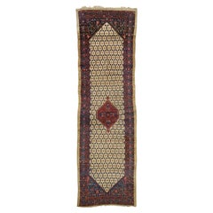 Antique Persian Malayer Carpet Runner, Persian Gallery Rug with Camel Hair