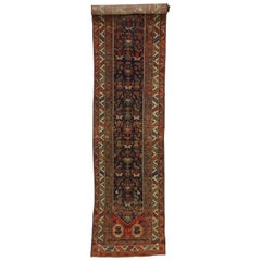 Antique Persian Malayer Extra-Long Hallway Runner with Manor House Tudor Style