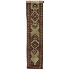 Antique Persian Malayer Extra-Long Hallway Runner with Tudor Manor House Style