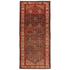 Antique Persian Malayer Gallery Rug, Hallway Runner with Guli Hennai Flower