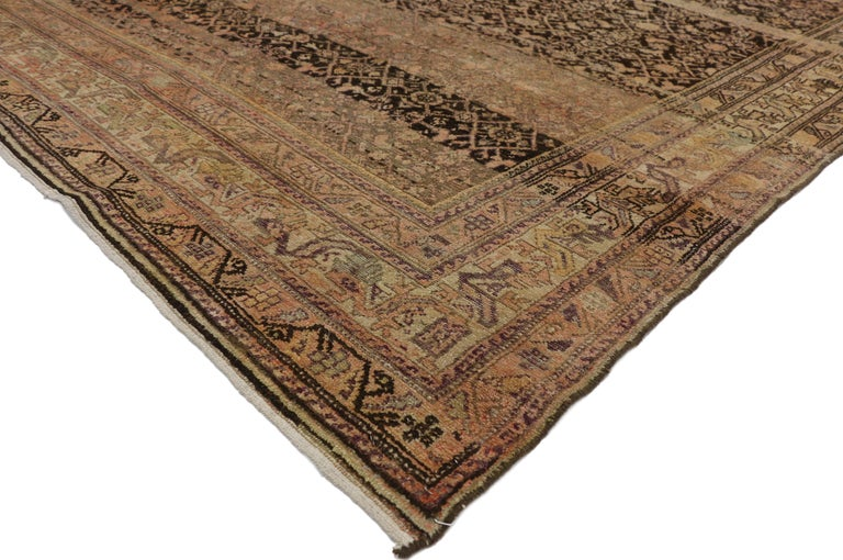 76510 antique Persian Malayer Gallery rug with Herati Design, Long Living Room rug. This hand knotted wool antique Persian Malayer gallery rug features the all-over Classic Herati design. The all-over Herati pattern is among the most widespread and