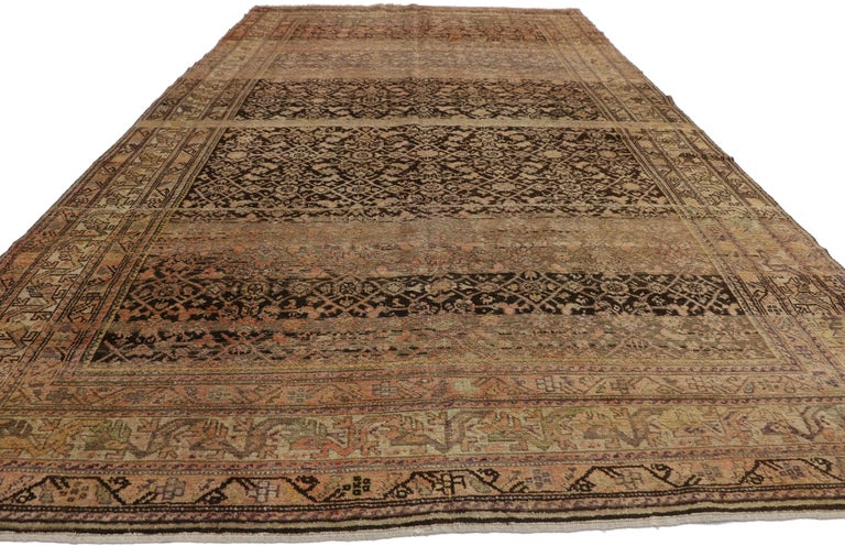 Hand-Knotted Antique Persian Malayer Gallery Rug with Herati Design, Long Living Room Rug For Sale