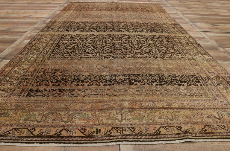 Antique Persian Malayer Gallery Rug with Herati Design, Long Living Room Rug For Sale 1