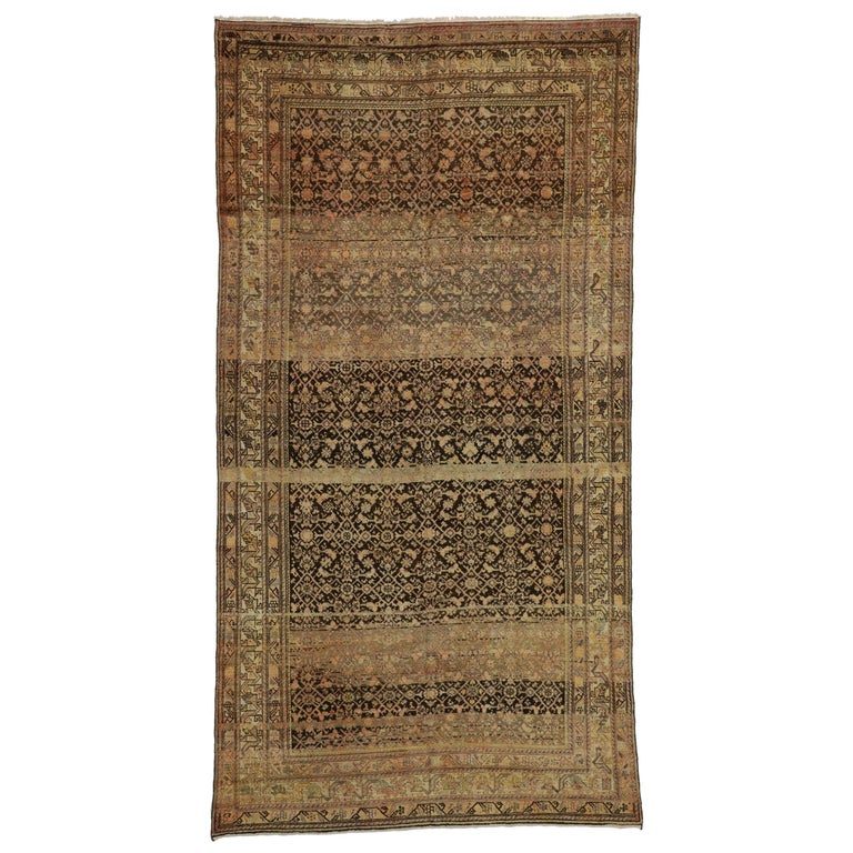 Antique Persian Malayer Gallery Rug with Herati Design, Long Living Room Rug For Sale
