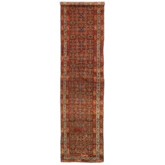 Antique Persian Malayer Hallway Runner with Tudor House Manor Style