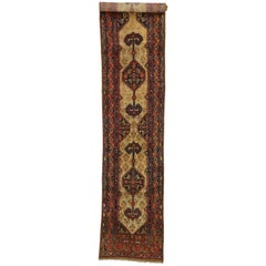 Antique Persian Malayer Long Hallway Runner with Tudor Manor House Style