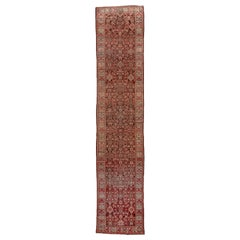 Antique Persian Malayer Long Runner, Herati Design, Brown & Red Field