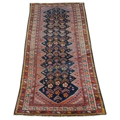 Antique Persian Malayer, Navy, Red & Floral, Wool, Wide Hall Size, 1910