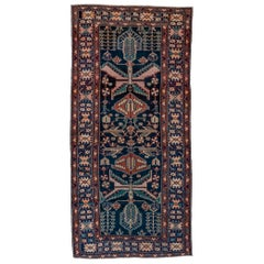 Antique Persian Malayer Rug, Blue Field, Teal Accents