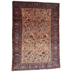 Antique Persian Malayer Rug One Directional with Birds, Wool, Scatter Size, 1915