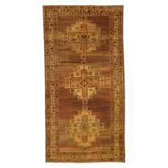 Antique Persian Malayer Rug with 3 Floral Medallions on Center Field