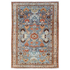 Antique Persian Malayer Rug with a Blue Field and Stylized Floral Design
