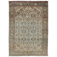 Antique Persian Malayer Rug with All Over Boteh Design in Earth Tones