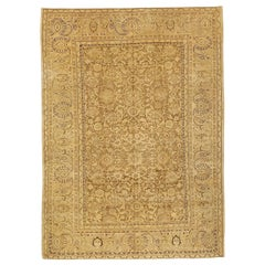 Antique Persian Malayer Rug with Beige and Brown Geometric Patterns