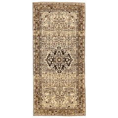 Antique Persian Malayer Rug with Black and Brown Botanical Details