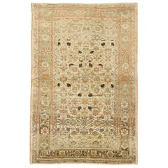 Antique Persian Malayer Rug with Black and Green Flower Details on Ivory Field