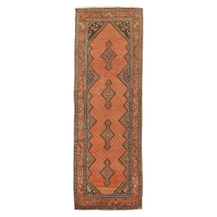 Antique Persian Malayer Rug with Black and Beige Floral and Geometric Details